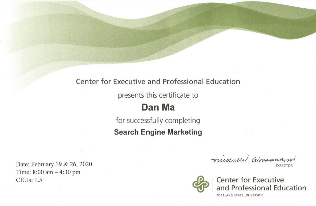 PSU – Search Engine Marketing Certificate