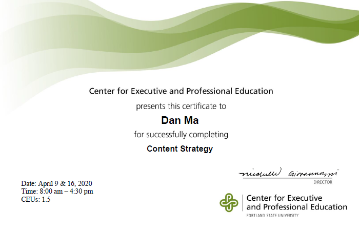 PSU – Content Strategy Certificate